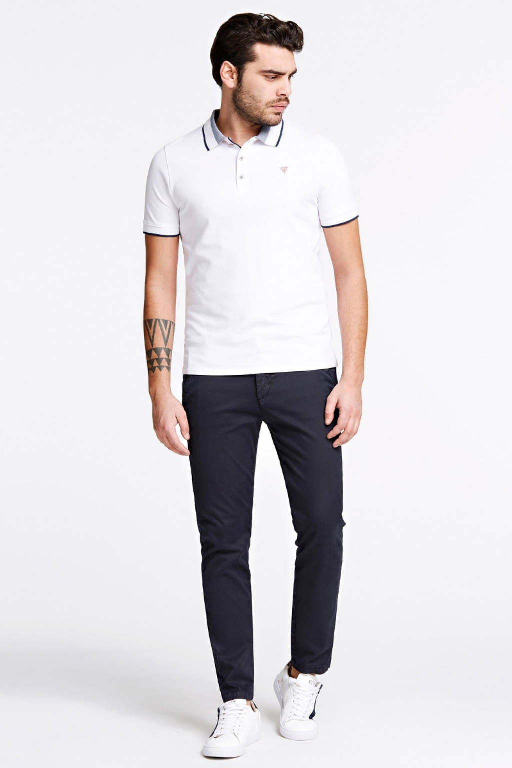 GUESS slim fit polo met contrastbies wit, Wit