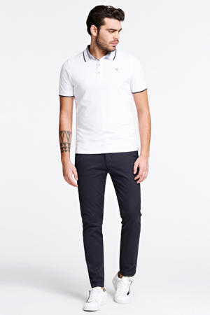 slim fit polo met contrastbies wit