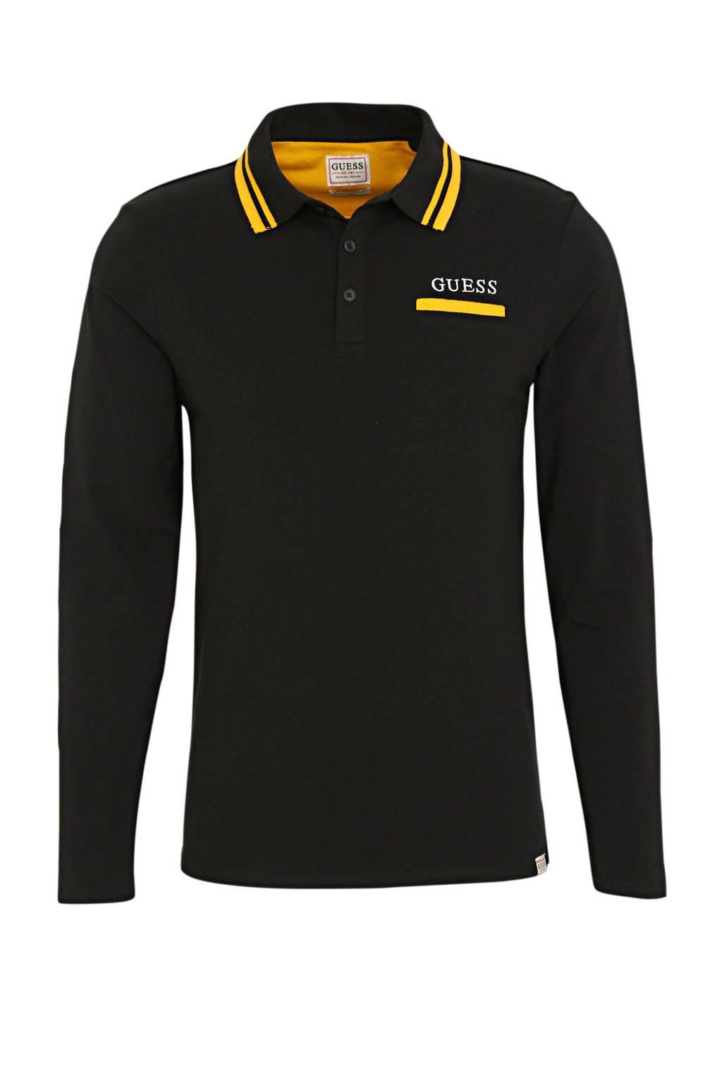 GUESS regular fit polo zwart/geel, Zwart/geel