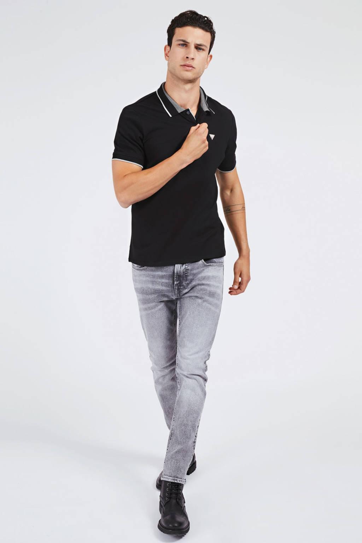 GUESS slim fit polo met contrastbies zwart, Zwart