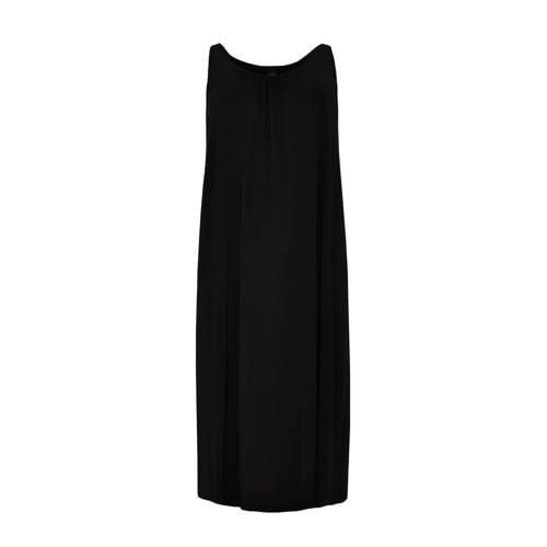 Yoek maxi jurk en plooien zwart