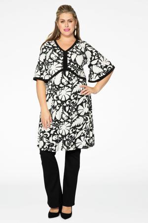 gebloemde A-lijn jurk met contrastbies zwart/wit