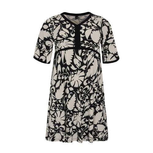 Yoek gebloemde A-lijn jurk met contrastbies en con
