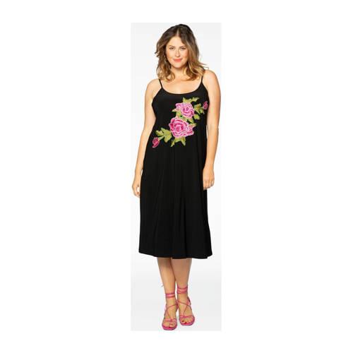 Yoek gebloemde A-lijn jurk zwart/roze