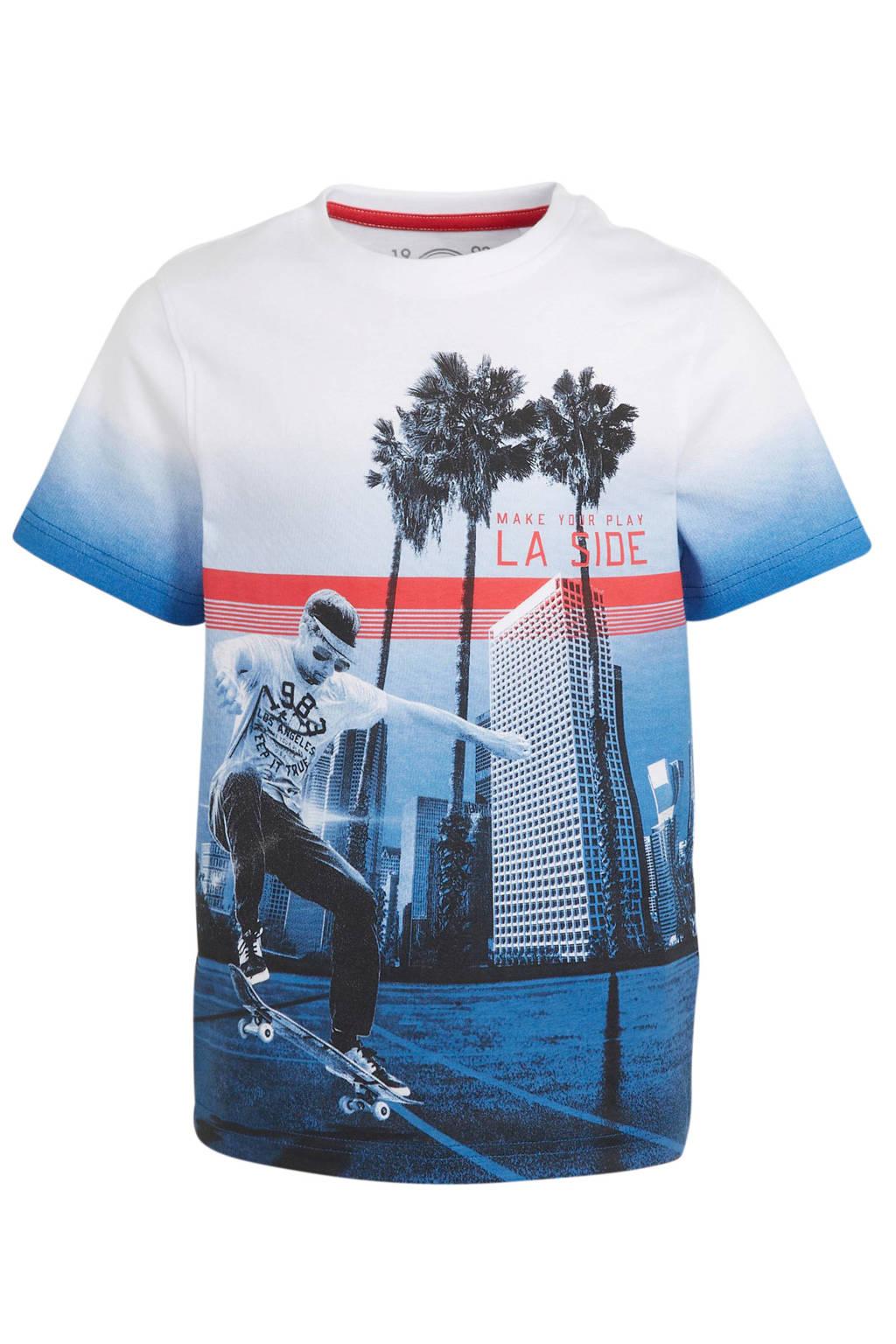 C&A Here & There T-shirt van biologisch katoen blauw/wit, Blauw/wit