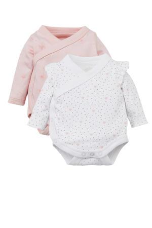 newborn romper - set van 2 wit/lichtroze
