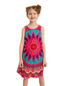 Desigual A-lijn jurk met printopdruk fuchsia/blauw, Fuchsia/blauw