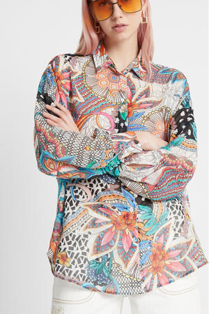 blouse met all over print wit/multi