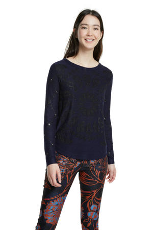 trui met all over print en glitters donkerblauw