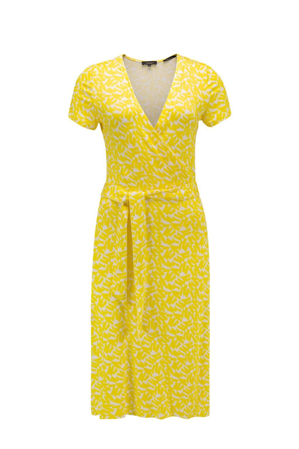 Claudia Sträter wikkeljurk met grafische print en ceintuur geel, Geel
