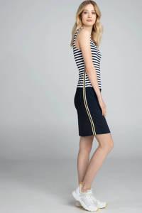 Claudia Sträter gestreepte jersey jurk met contrastbies en contrastbies marine/wit/geel, Marine/wit/geel