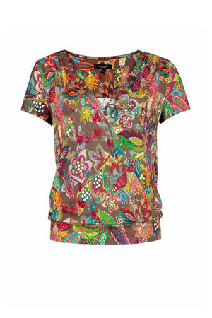 top met all over print groen/multi