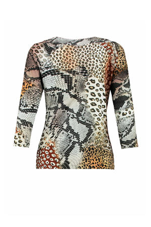 top met all over print beige