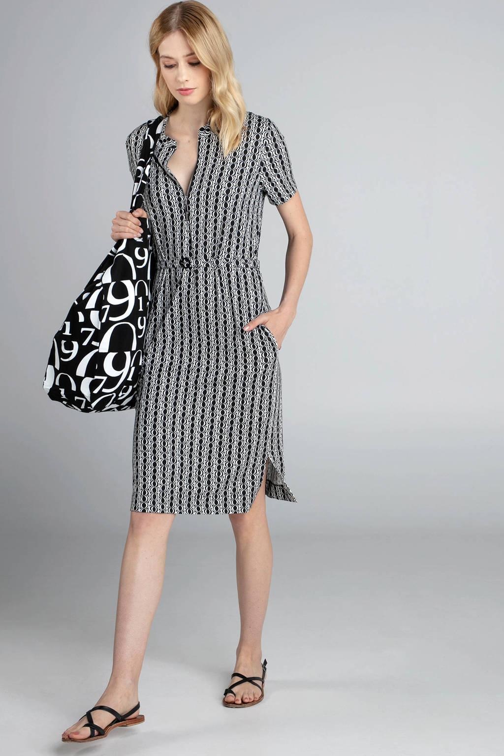 Claudia Sträter gestreepte jurk fancy zwart