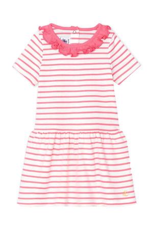 gestreepte jersey jurk wit/rood