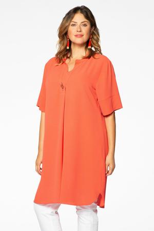 jurk met broche oranje