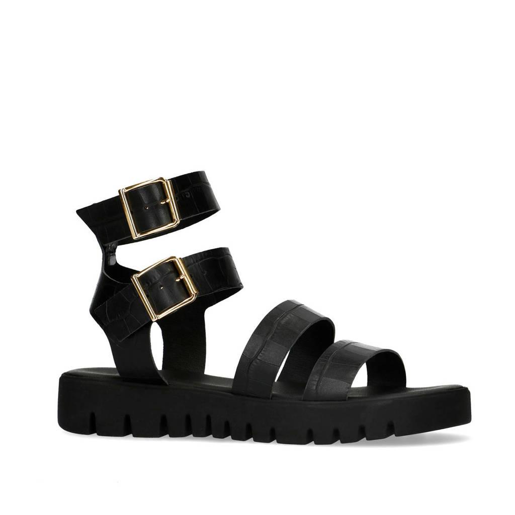 Sacha   leren sandalen zwart, Zwart/goud