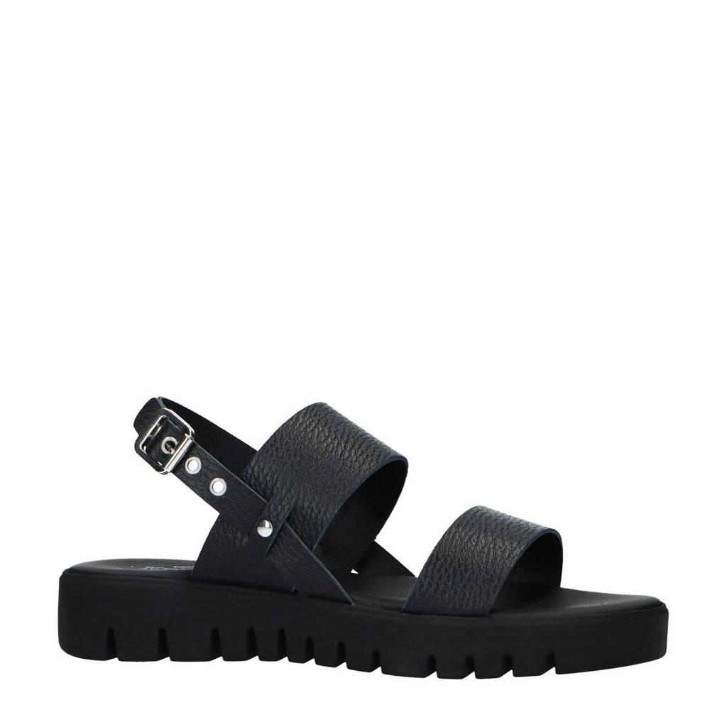 Sacha   leren sandalen zwart, Zwart