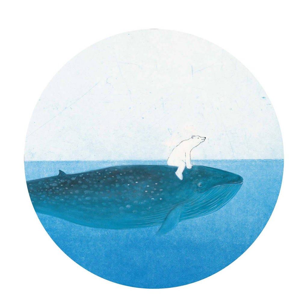 KEK Amsterdam behangcirkel Riding the Whale (Ø190 cm)  (Ø190 cm), Blauw/wit