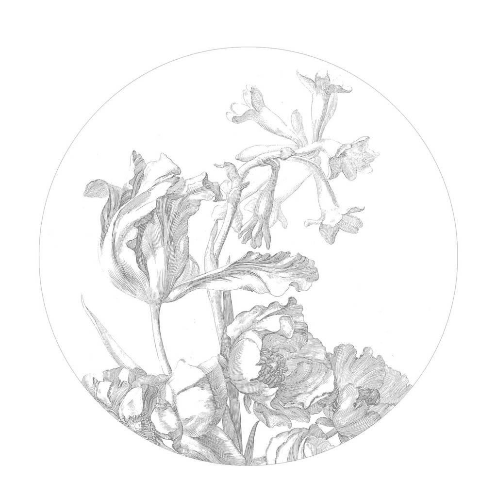 KEK Amsterdam behangcirkel Engraved Flowers (Ø190 cm)  (Ø190 cm), Zwart/wit 1