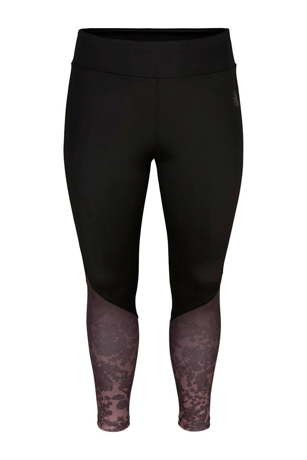 ACTIVE By Zizzi Plus Size 7/8 sportbroek zwart, Zwart