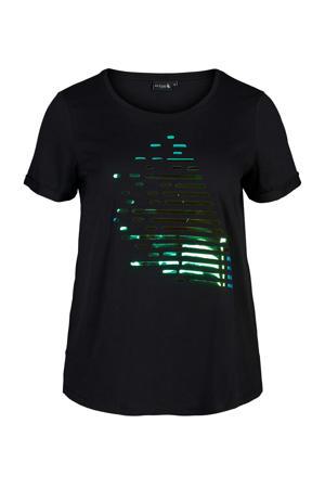 Plus Size sport T-shirt zwart/groen/blauw