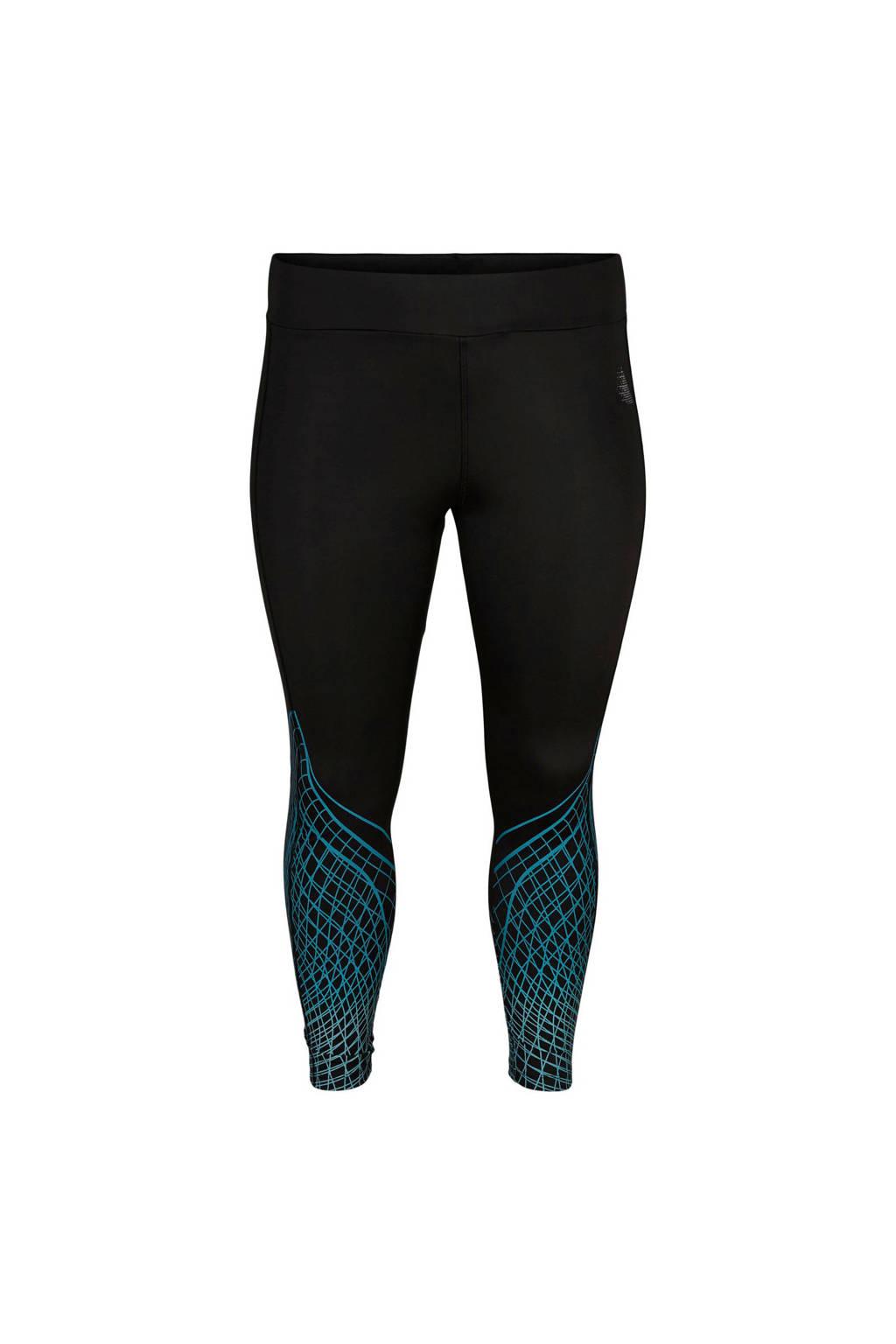 ACTIVE By Zizzi Plus Size 7/8 sportbroek zwart, Zwart/blauw