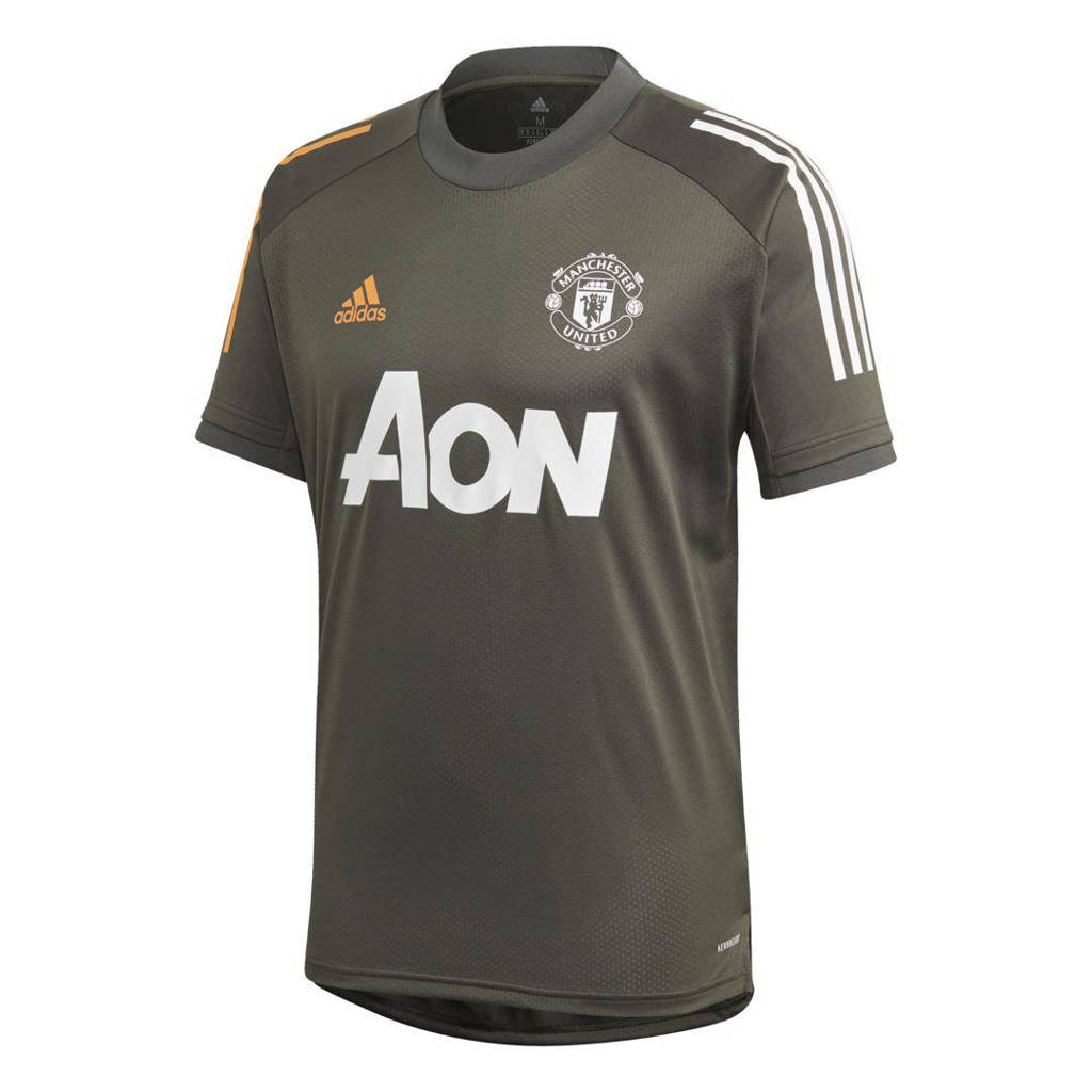 adidas Performance  Manchester United trainings T-shirt grijsbruin 2020/2021, Grijsbruin