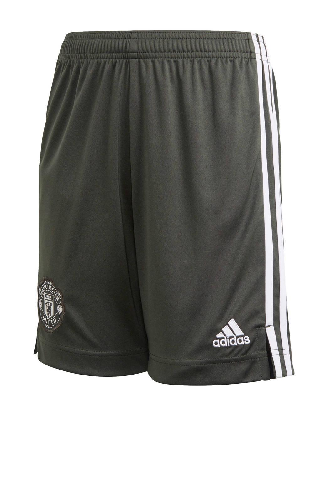 adidas Performance Junior Manchester United voetbalshort Uit, Donkergroen