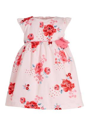 A-lijn jurk met all over print en 3D applicatie lichtroze