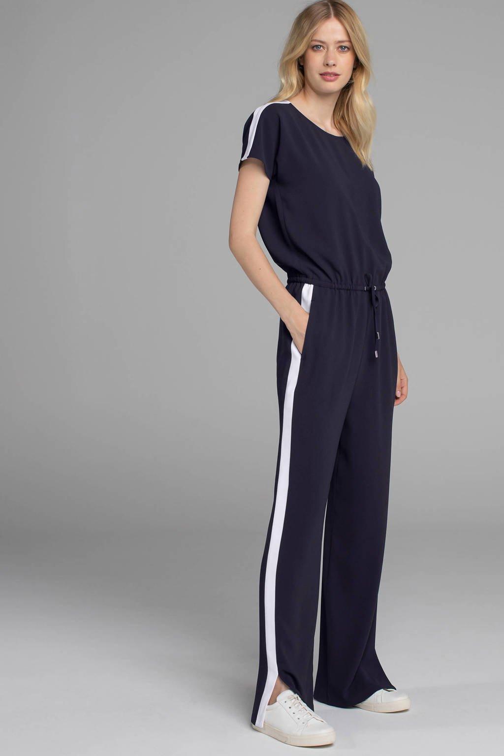 Claudia Sträter jumpsuit met zijstreep marine/wit, Marine/wit