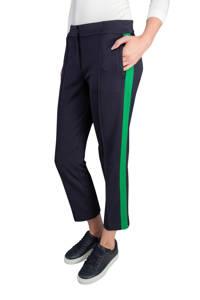 Claudia Sträter straight fit pantalon met zijstreep donkerblauw/groen, Donkerblauw/groen