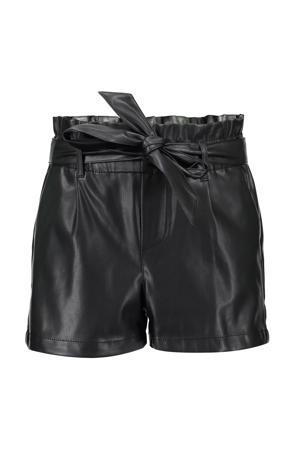 imitatieleren loose fit short zwart