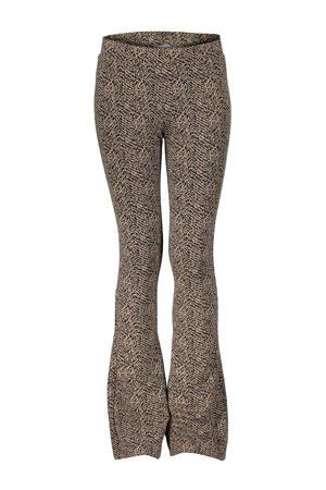 flared legging met all over print zwart/zand
