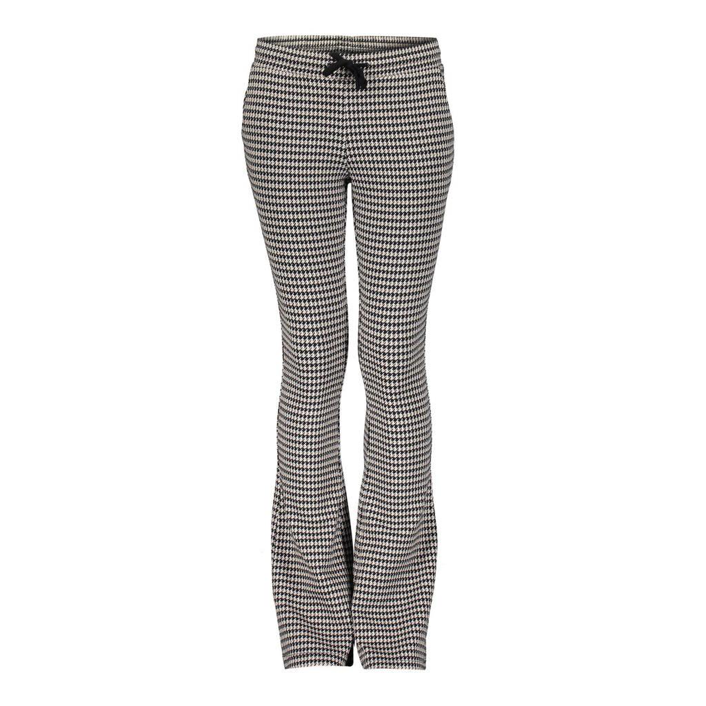 Geisha flared broek met pied-de-poule zwart/zand, Zwart/zand