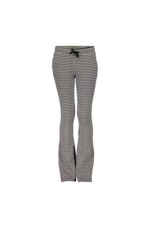 flared broek met pied-de-poule zwart/zand
