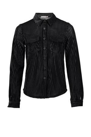 gestreepte blouse velours zwart