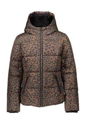 gewatteerde winterjas met panterprint bruin/groen