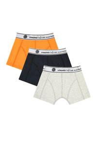Vingino Daley Blind   boxershort - set van 3 oranje/d.blauw/lichtgrijs, Oranje/d.blauw/lichtgrijs