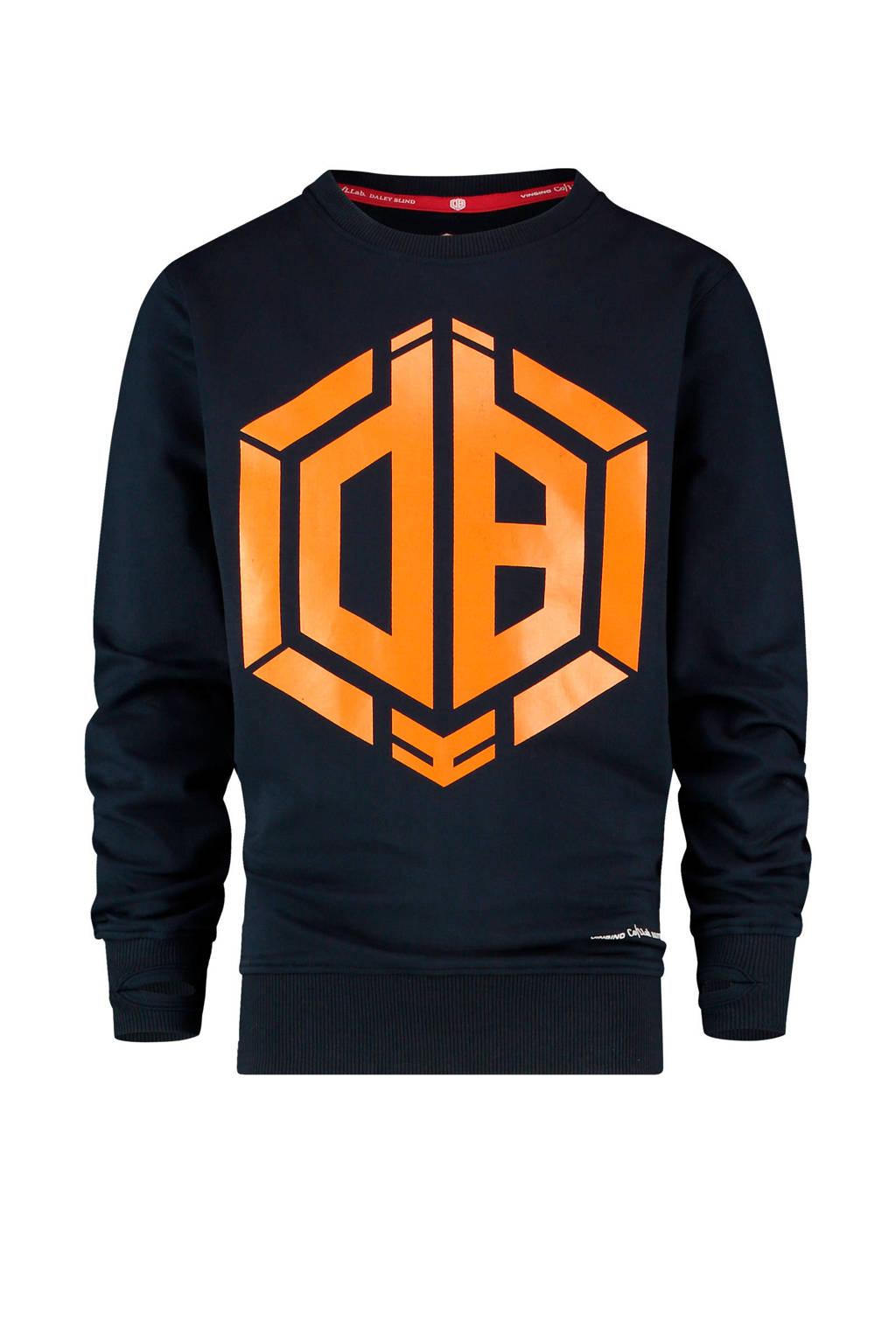 Vingino Daley Blind sweater Niek met logo donkerblauw/oranje, Donkerblauw/oranje