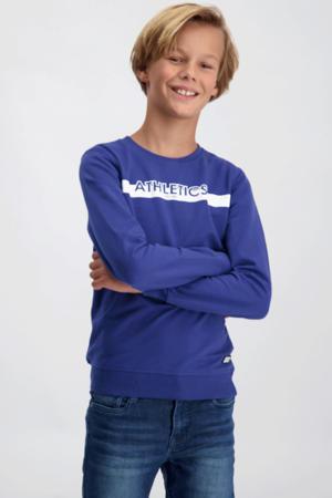 sweater Carter met tekst kobaltblauw