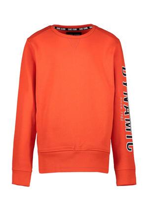 sweater Chalk met tekst oranje