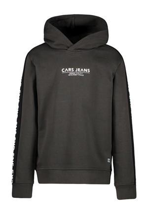hoodie Dougal met tekst donkergroen