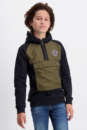 hoodie Mercers met printopdruk army groen/zwart
