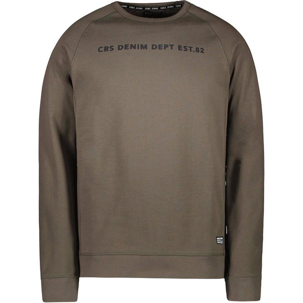 Cars sweater Creased met tekst army groen, Army groen