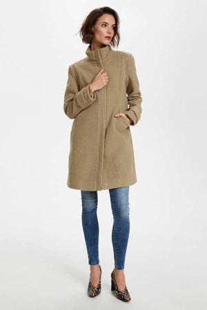 coat Sodra Stockholm met wol lichtkaki