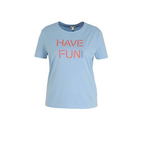 ESPRIT Women Casual T-shirt met tekst blauw