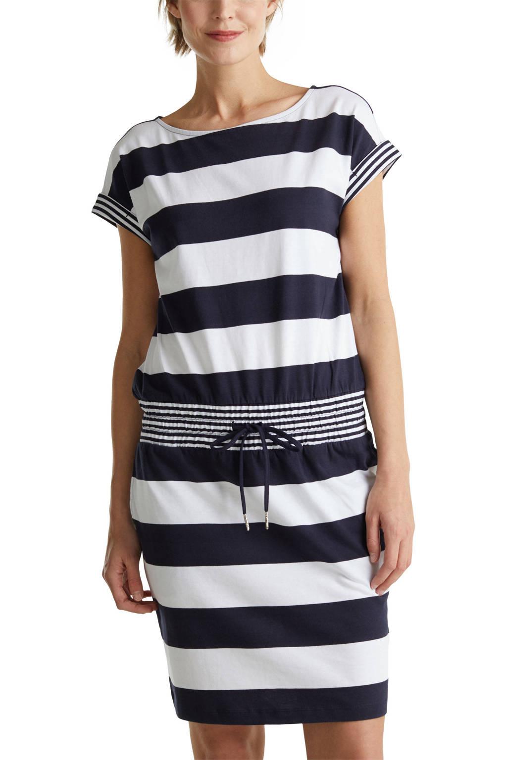 ESPRIT Women Casual gestreepte jersey jurk donkerblauw/wit, Donkerblauw/wit