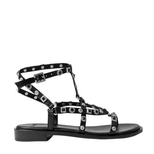 Bronx Thrill leren sandalen zwart/zilver
