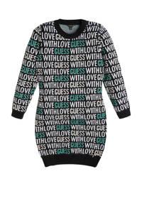 GUESS sweatjurk met all over print zwart/wit/groen, Zwart/wit/groen